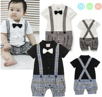 Free Shipping(6set/lot) Brand New 100% Cotton boys gentleman plaid fashion handsome rompers infant baby rompers boys clothing