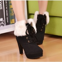 promotion women's winter ankle boots high heel fur boots pu leather 2013 new