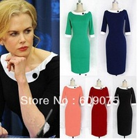 Free shipping New Womens Pinup Rockabilly Colorblock Bodycon Stretch Shift Wiggle Dress