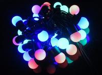 FREE SHIPPING-Led lights flasher lamplighting 220V 5Meters 50LED RGB BULB for Xmas decoration