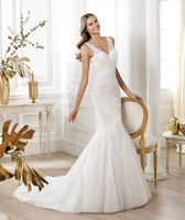 Free Shipping Elie Saab 2014 Fashion Mermaid White Sheer Strap V-Neck Sexy Wedding Dress Gown Wholesale