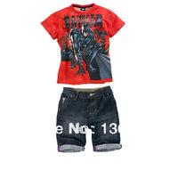 2013 Kids Clothing Sets Children T Shirt Jeans suits Boys Batman Clothing set Girls Mini Jeans Clothing Retail Free Shipping