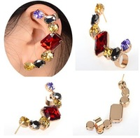 1PC New Gothic Rock Punk Temtation Metallic Multicolor Crystal Ear Cuff Wrap Earring For Woman Free Shipping