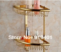 Free Shipping Wholesale Promotion NEW Golden Stainless Steel Wall Mounted Two Tiers Bathroom Shelf Triangle Shelf