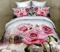 WITH comforter 2013 new Luxury 3D Oil Painting Print 5PCS Queen/King Comfortable Peony Flower Bedding Sets