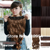 Salon Synthetic Hair 5 clip-in hair extension long curl wavy hairpiece 5 colors fashion hair extensions
