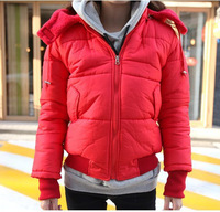2013 Fashion down coat women Winter's red jacket with hat ,thick outerwear fur inside, Parka Overcoat Tops free shipping Z220