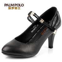 Paul women's knight shoes ol black hasp high-heeled shoes shallow mouth shoes female genuine leather