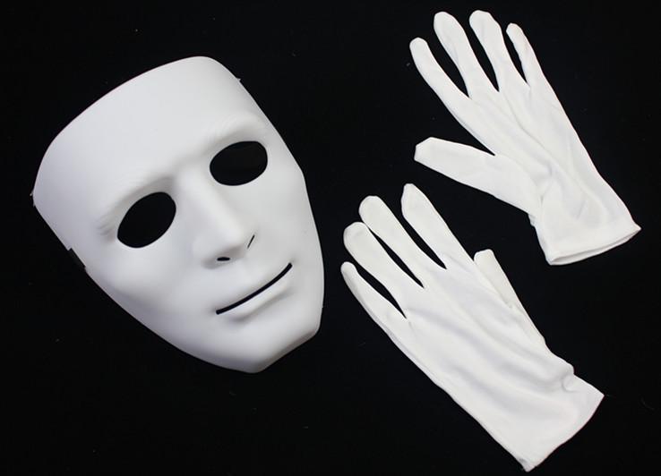 110g hip-hop white jabbawockeez mask gloves(China (Mainland))