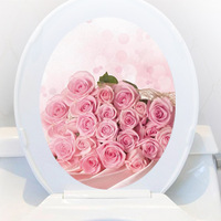 Waterproof pvc bathroom decoration wall stickers furniture stickers toilet sticker romantic pink rose