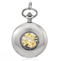 free shipping(4pcs/lot) 47*47mm light gray flat face  mechanical  pocket watch necklace.chain length: 37.5cm