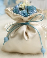 Most popular free shipping mini cute wedding gift packaging satin bags blue