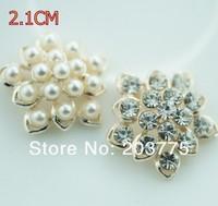 Free Shipping!50pcs/lot 21MM rhinestone pearl button for hair flower wedding invitation embellishment DIY accessory
