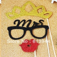 Funny design photo props for bride and groom  wedding party shiny photography prop 6pcs/lot PI135