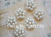 Free Shipping!50pcs/lot 25mm metal rhinestone button with pearl wedding embellishment crafting DIY accessory factory