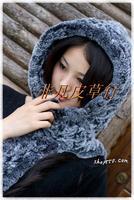 free shipping Fashion all-match rex rabbit hair scarf cap fur scarf muffler scarf hat cape one piece