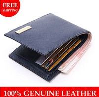 Promotion! High Quality Cowhide wallet genuine leather Men's wallets,man leather lines purse/wallet for men 2014 New coin purses