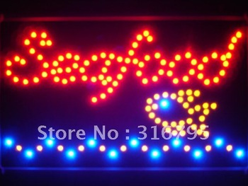 led090-r Seafood Restaurant Led Neon Sign WhiteBoard Wholesale Dropshipping