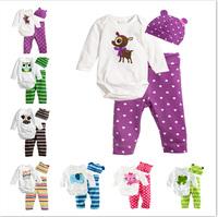 free shipping retail 3pcs/set cotton baby romper set baby jumpsuit cartoon romper set