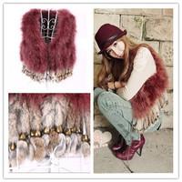 free shipping 2013 turkey wool ostrich fur vest rabbit fur tassel short design waistcoat outerwear
