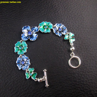 Accessories fashion 2 blue flowers rhinestone green paint vintage retro bracelet silver finishing