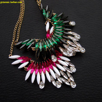 Accessories fashion sweet punk flying wing anthoxanthin emerald rose black and white acrylic necklace