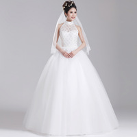 Lace wedding dress halter-neck puff skirt slim waist racerback wedding qi sweet autumn and winter 2013