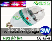 E27 CREE CE ROHS RGB Spotlight Full Color E27 3W LED Bulb Rotating Cloorful lamp light bulb Warranty 2 Year 10pcs Free