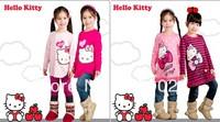 2013 Children Cartoon Brand Long Tee Girls Long Sleeve Hello Kitty T shirts Kids Autumn lovely top Baby 100% cotton t shirt Sell