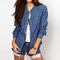 13 spring and summer denim shirt female long-sleeve slim denim shirt plus size cotton 100%