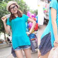 Short-sleeve T-shirt 2013 summer new arrival formal women's slim casual short o-neck t medium-long