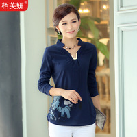 Plus size print chiffon shirt women all-match 2013 autumn long-sleeve shirt V-neck shirt