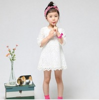Free shipping! 2013 New Fashio Korean Children Clothing Beautiful White Girls Lace Dress Princess Mini Dresses Kid Baby Clothes