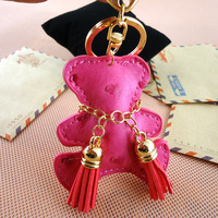 Bear car keychain leather bags PU hangings key chain