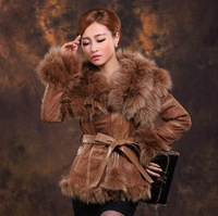 2014 New Fashion Genuine Pig Leather Jacket With Fox Fur Collar For Women,Winter Coat Hot Styles ZX0230