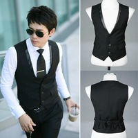 Fashion Men's business Vest Top Casual Slim Formal dress vests for men Black Asia size M L XL  XXL