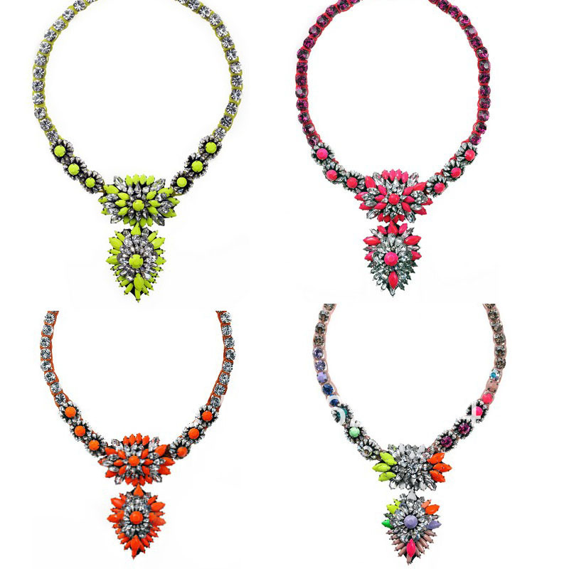 Exclusive new Shourouk Cora Zambia Rainbow Necklace/Orange/Pink,Braided Necklace With Crystals,Top Fashion,Fall/Winter Jewelry!(China (Mainland))