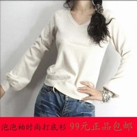 Women's cashmere sweater loose pullover sweater outerwear solid color low collar long-sleeve basic shirt short design knitted