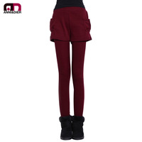 Free Delivery Autumn and winter plus velvet thickening legging trousers female faux two piece skirt legging