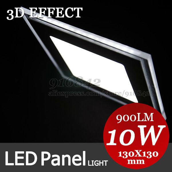 Led down lumière 10w 3d effet 5630+3528 smd led plafonnier 130mm ac85-265v panneau led downlight carré