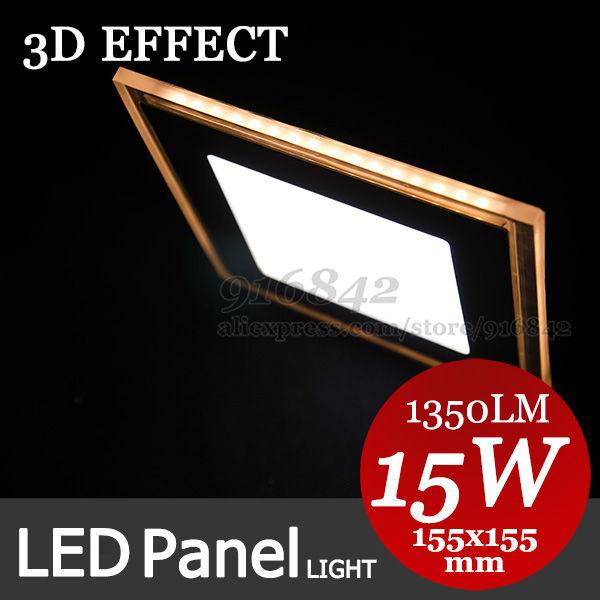 Molto bello effetto di luce 3d, bianco caldo forma, ad alta potenza luce pannello led 15w piazza della lampada a led da incasso incasso lampada 85-265v