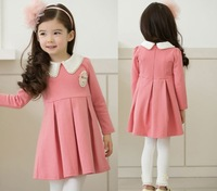 5pieces/lot Hot Sale Casual Kids Children's Clothes Pink Long Sleeve Sweet heart Pearl Neck A Line Dress For School Girls
