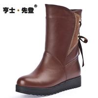 2013 winter genuine leather female cotton-padded shoes wool medium-leg wedges boots plus size platform casual female cotton