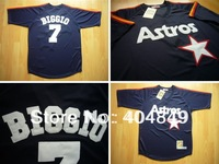 AA+ 7 multi type Craig Biggio jersey,Retro Astros white navy blue throwback authentic,women youth custom baseball free shipping