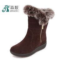 Slip-resistant thermal winter rabbit fur genuine leather snow boots flat plus size cotton-padded shoes quinquagenarian women's