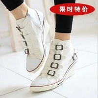 2013 New Fashion  Sneakers For Women Brand Casual Canvas Shoes Height Increasing Boots Are Female Big Size WS4005