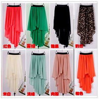Free Shipping 2013 New Sexy Asym Hem Chiffon Skirt Ladies Long Maxi Skirt Elastic Waist Cotton Mid-Calf  NZ1002