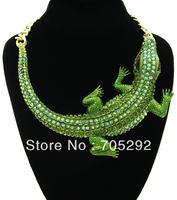 Huge Fashion Crocodile Pendants Chunky Statement Necklace Free Shipping