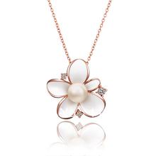 LN679 New 2013 Items 18K Rose Yellow White Gold Imitation Pearl White Flower Pendant Necklaces Women