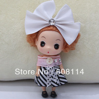 Free Shipping,Wholesale(20pcs/lot) 12CM Very Cute Girl With Colorful Striped Dress Vinyl Ddung Doll 1618